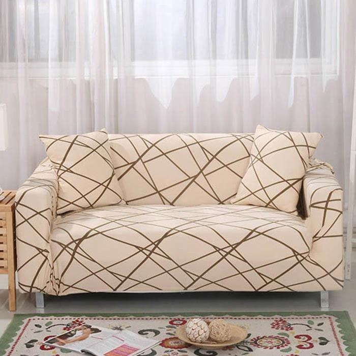 Beige Contemporary Line Pattern Sofa Couch Cover