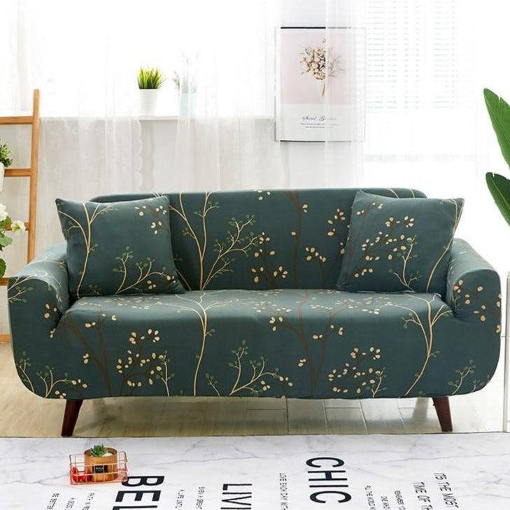 Forest Green Tree Branch Pattern Sofa Couch Cover