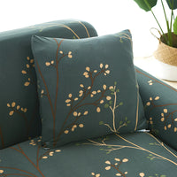 Forest Green Floral Tree Branch Pattern Sofa Couch Cover