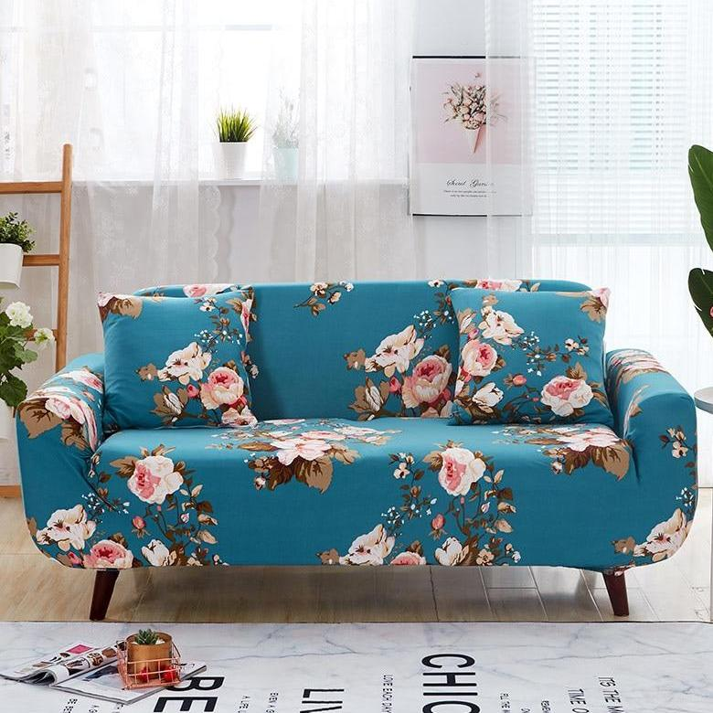 Teal Blue Cherry Blossom Pattern Sofa Couch Cover
