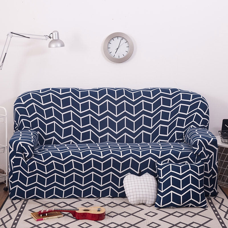Blue Geometric Ladder Pattern Sofa Couch Cover