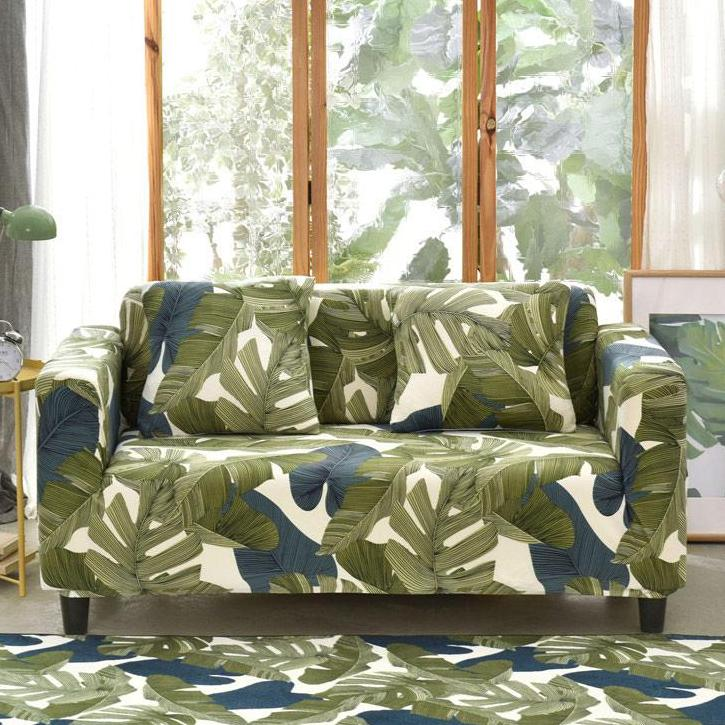 Green / Blue Palm Leaf Pattern Sofa Couch Cover