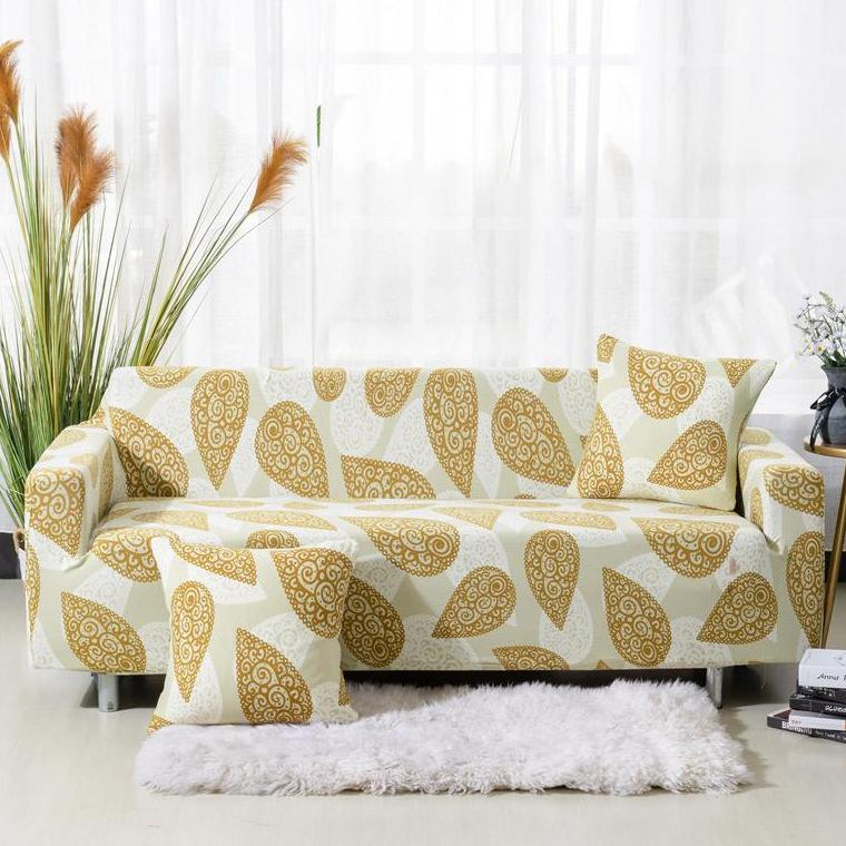 Gold Abstract Paisley Pattern Sofa Couch Cover