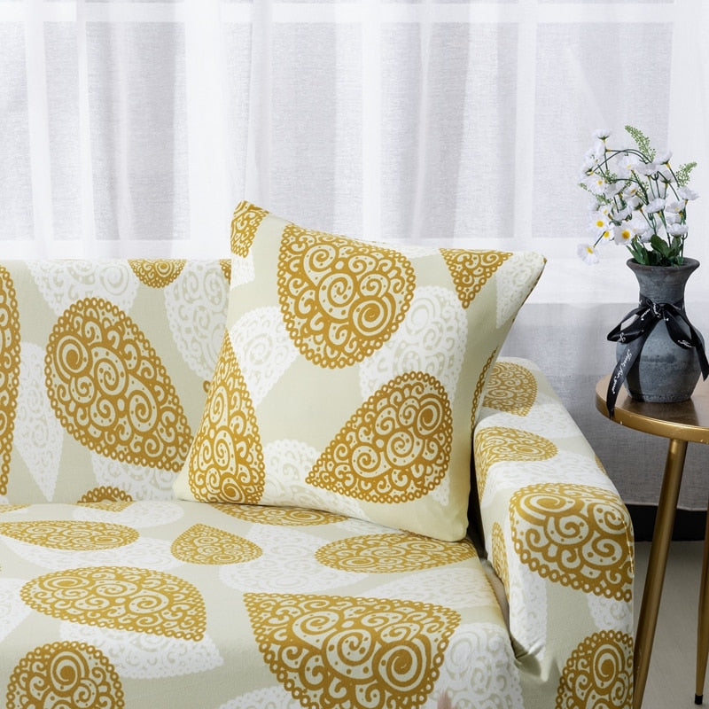 Awesome Yellow Abstract Paisley Pattern Sofa Couch Cover Decorzee Short Links Chair Design For Home Short Linksinfo