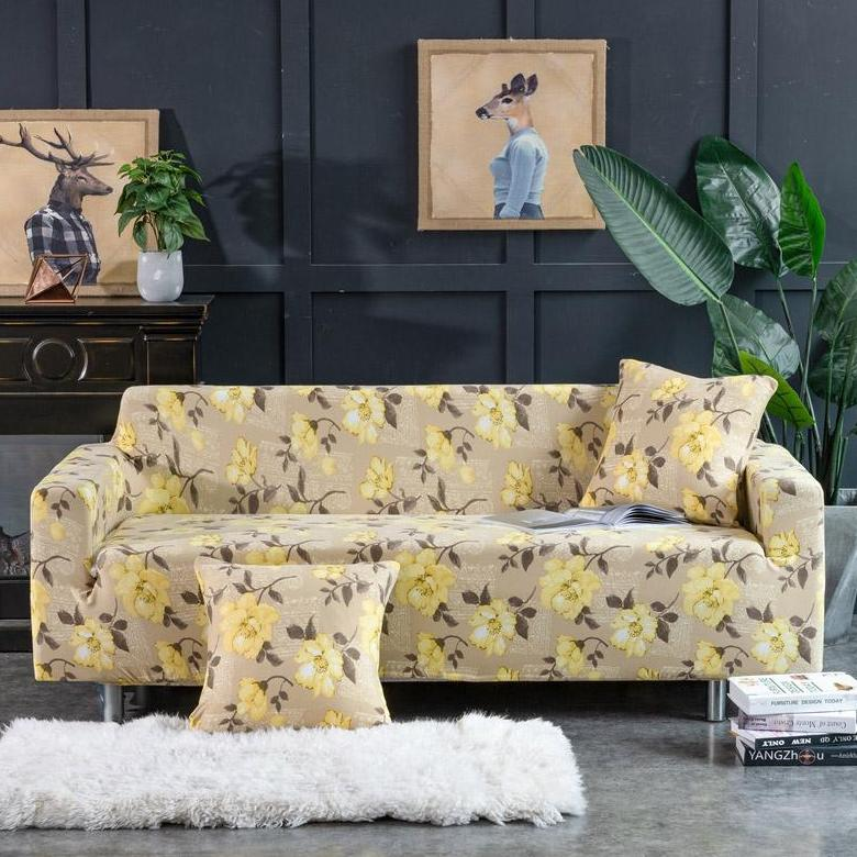 Yellow / Beige Floral Pattern Sofa Couch Cover
