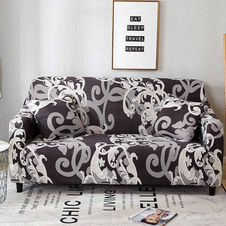 Remarkable Gray White Floral Damask Pattern Sofa Couch Cover Gamerscity Chair Design For Home Gamerscityorg