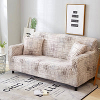 Ivory Abstract Scratch Pattern Sofa Couch Cover