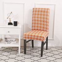 Geometric Floral Chain Pattern Dining Chair Cover