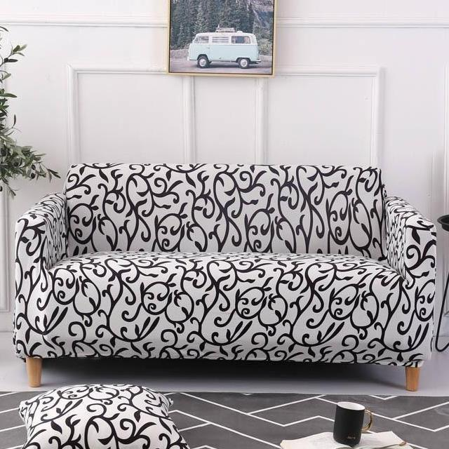 Strange Black White Floral Vine Pattern Sofa Couch Cover Gamerscity Chair Design For Home Gamerscityorg
