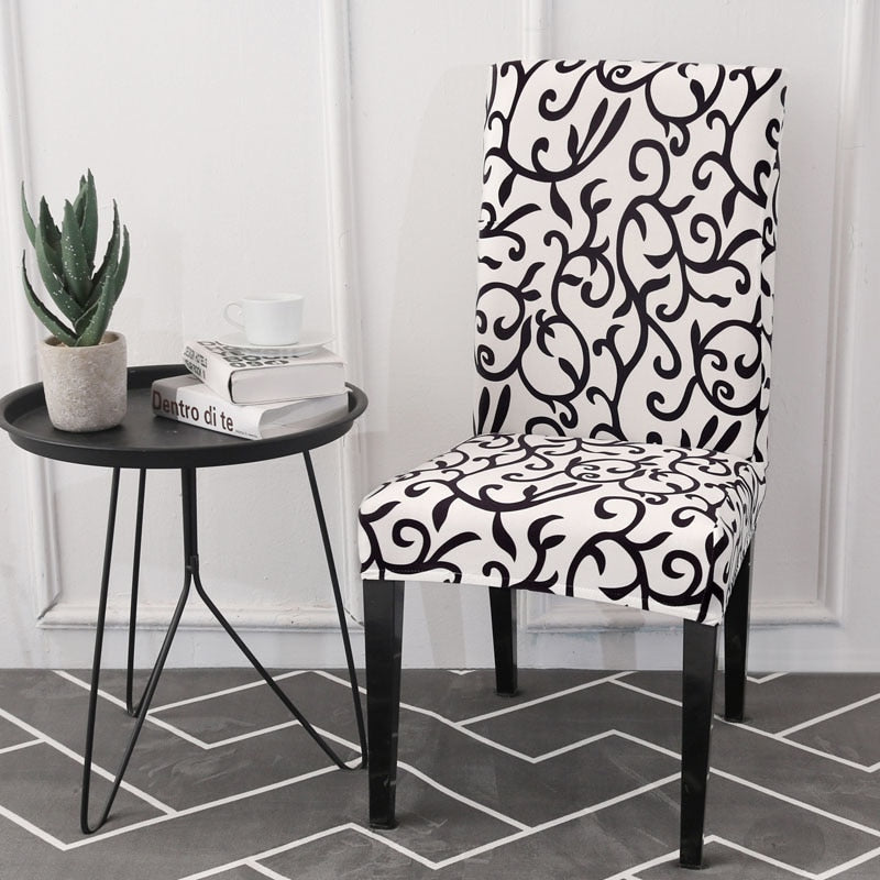 Remarkable Black White Floral Vine Pattern Dining Chair Cover Pdpeps Interior Chair Design Pdpepsorg