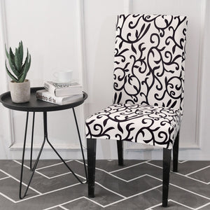 Black & White Floral Vine Pattern Dining Chair Cover