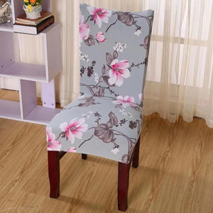 Gray Floral Hibiscus Pattern Dining Chair Cover