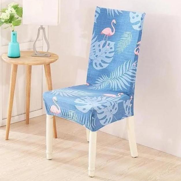Blue Palm Flamingo Pattern Dining Chair Cover