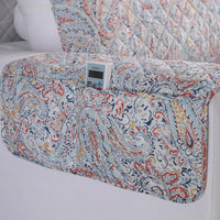 Gray Floral Paisley Quilted Sofa Couch Protector Cover