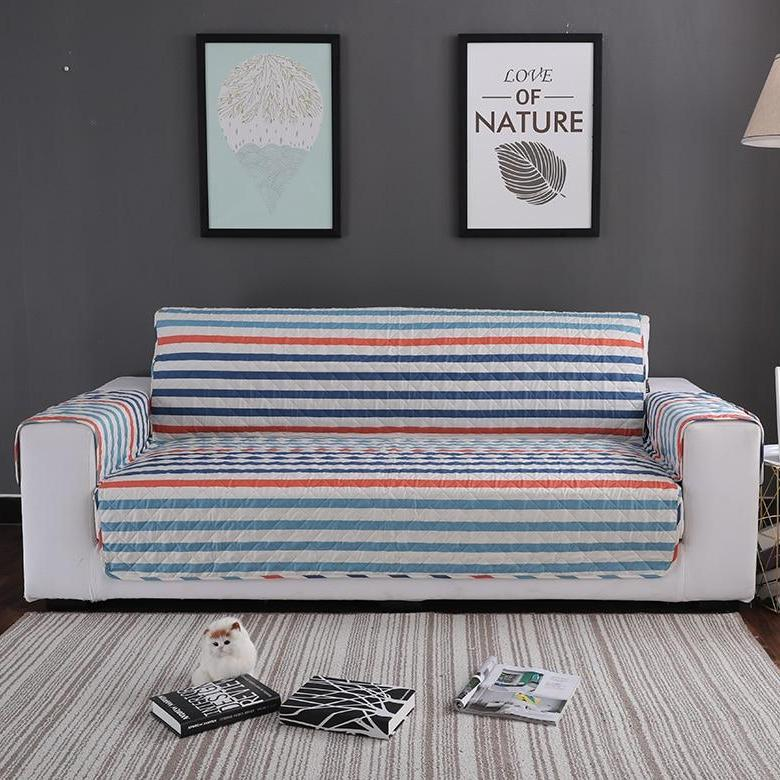 Blue / Orange Stripe Quilted Sofa Couch Protector Cover