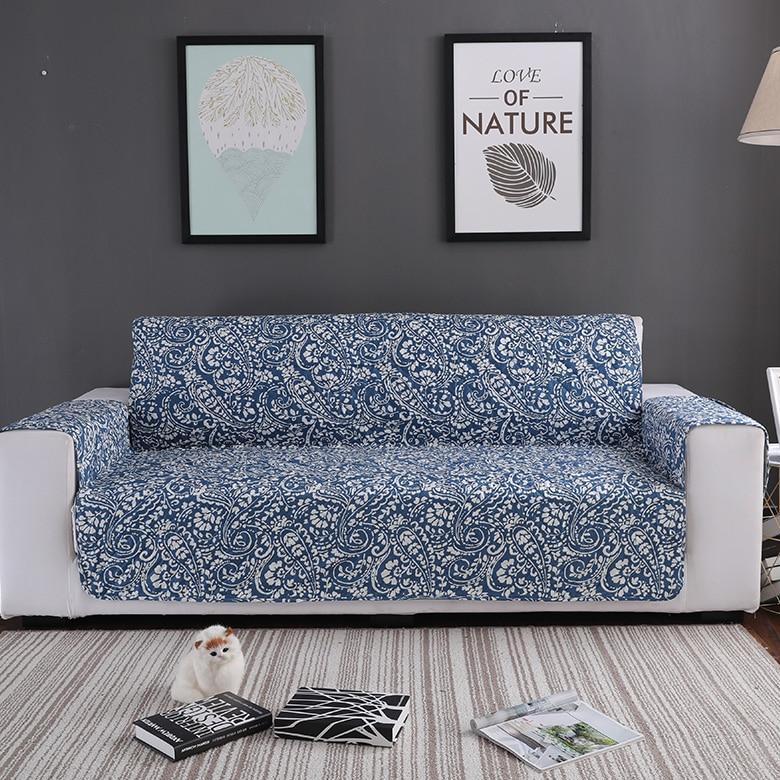 Blue Floral Paisley Quilted Sofa Couch Protector Cover