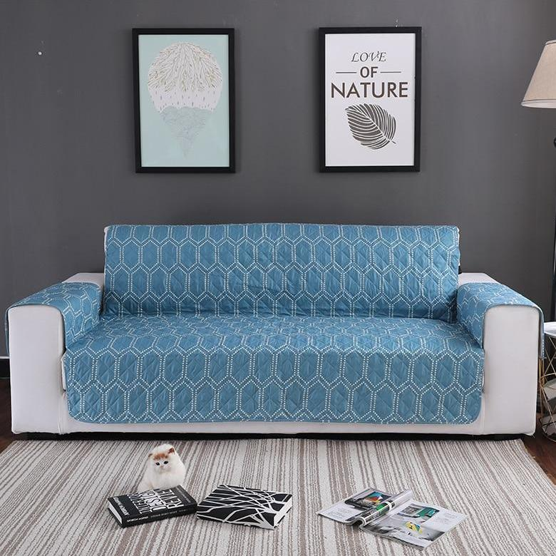 Teal Blue Hex Pattern Quilted Sofa Couch Protector Cover