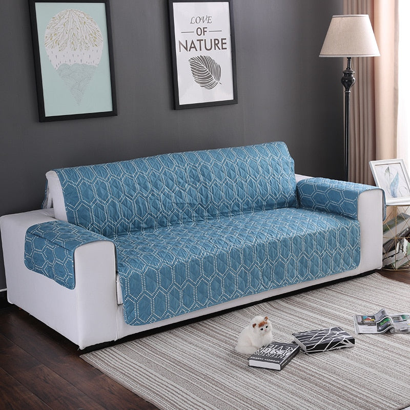 Cool Teal Blue Hex Pattern Quilted Sofa Couch Protector Cover Machost Co Dining Chair Design Ideas Machostcouk