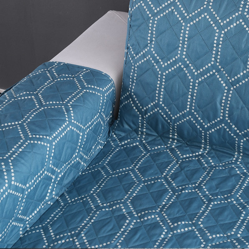 Fabulous Teal Blue Hex Pattern Quilted Sofa Couch Protector Cover Machost Co Dining Chair Design Ideas Machostcouk