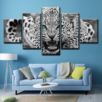 5-Piece Blue-Eyed White Snow Leopard Canvas Wall Art