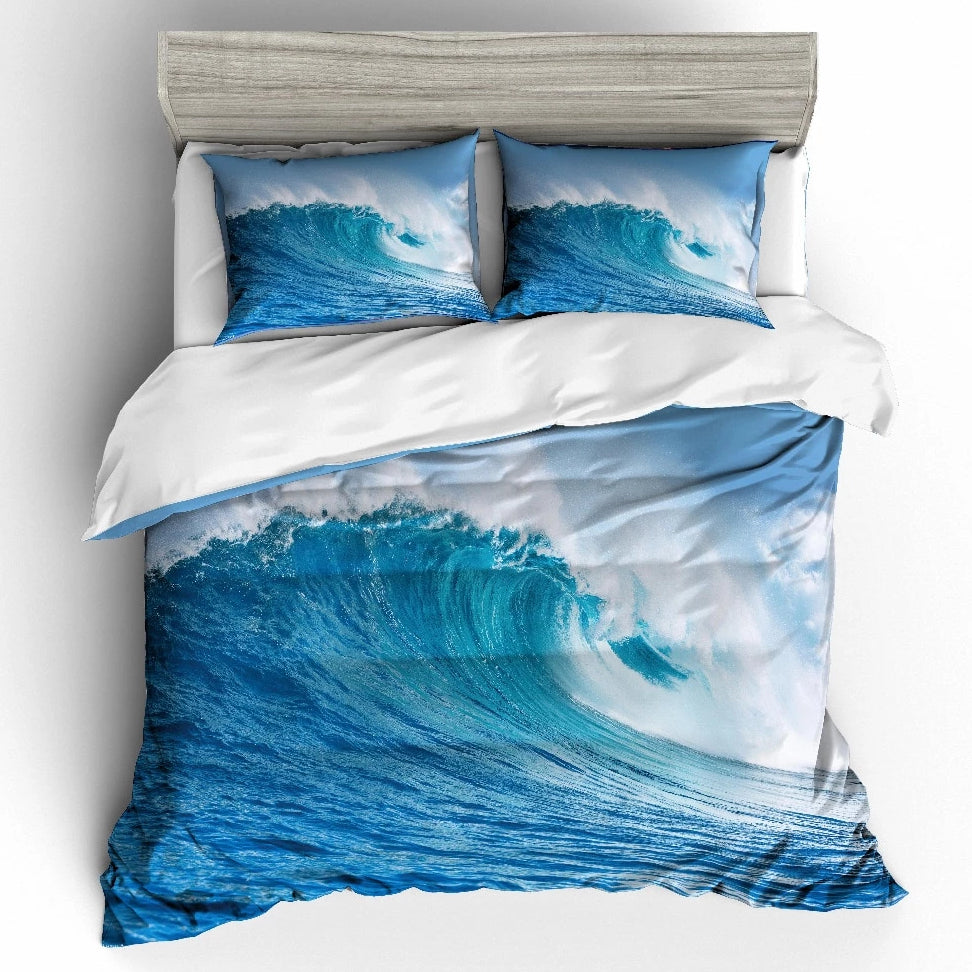 2/3-Piece Breaking Ocean Wave Print Duvet Cover Set