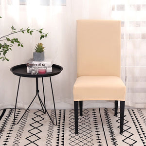 Solid-Color Elastic Dining Room Chair Cover
