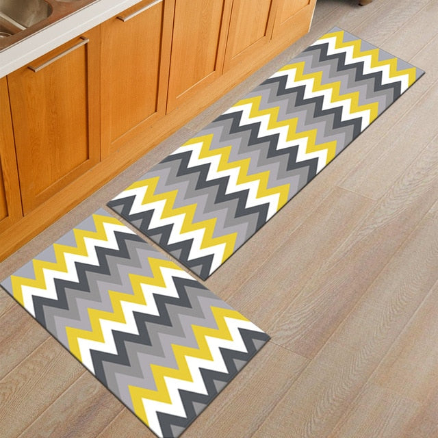 Gray / Yellow Zig-Zag Pattern Door Mat Floor Runner