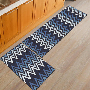 Blue Zig-Zag Pattern Door Mat / Floor Runner