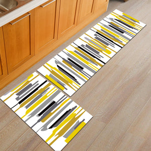 Abstract Yellow Stripe Door Mat / Floor Runner