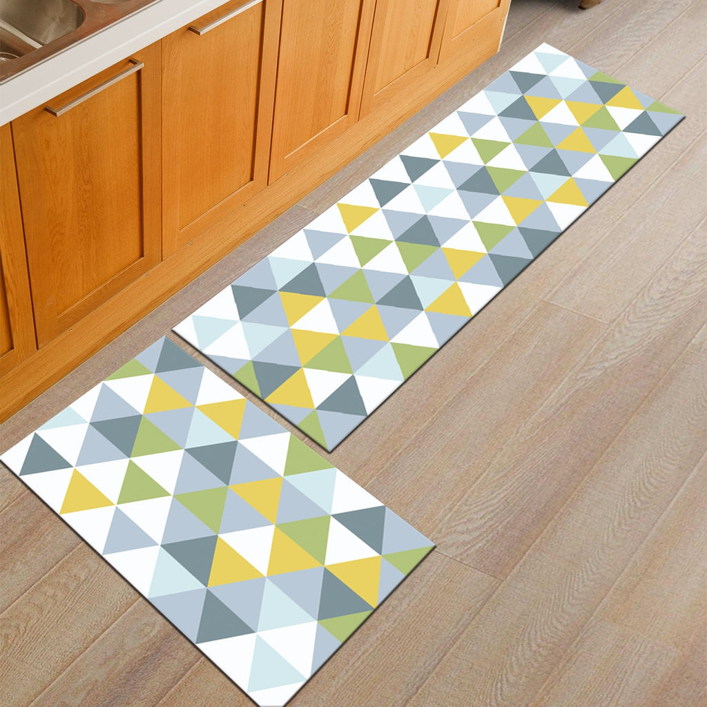 Blue / Yellow Triangle Pattern Door Mat Floor Runner