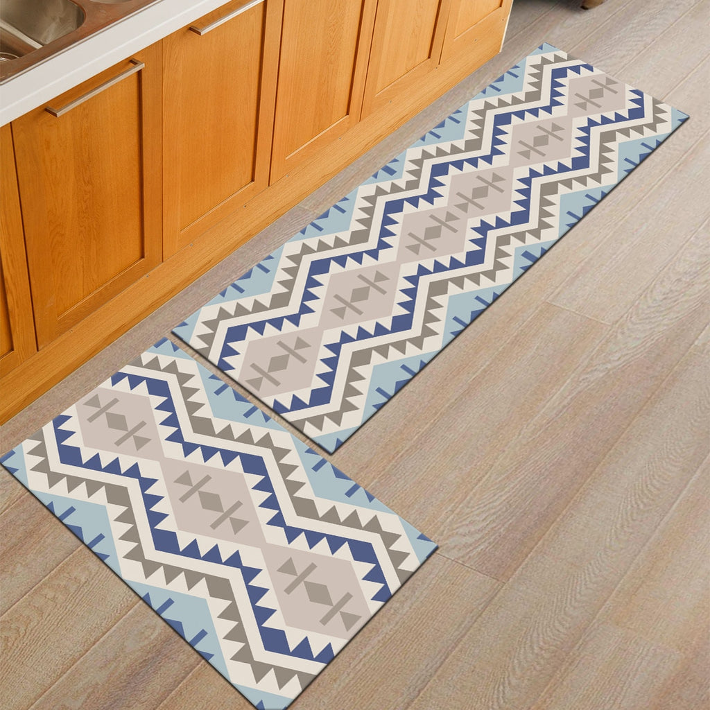 Light Blue Aztec Pattern Door Mat / Floor Runner
