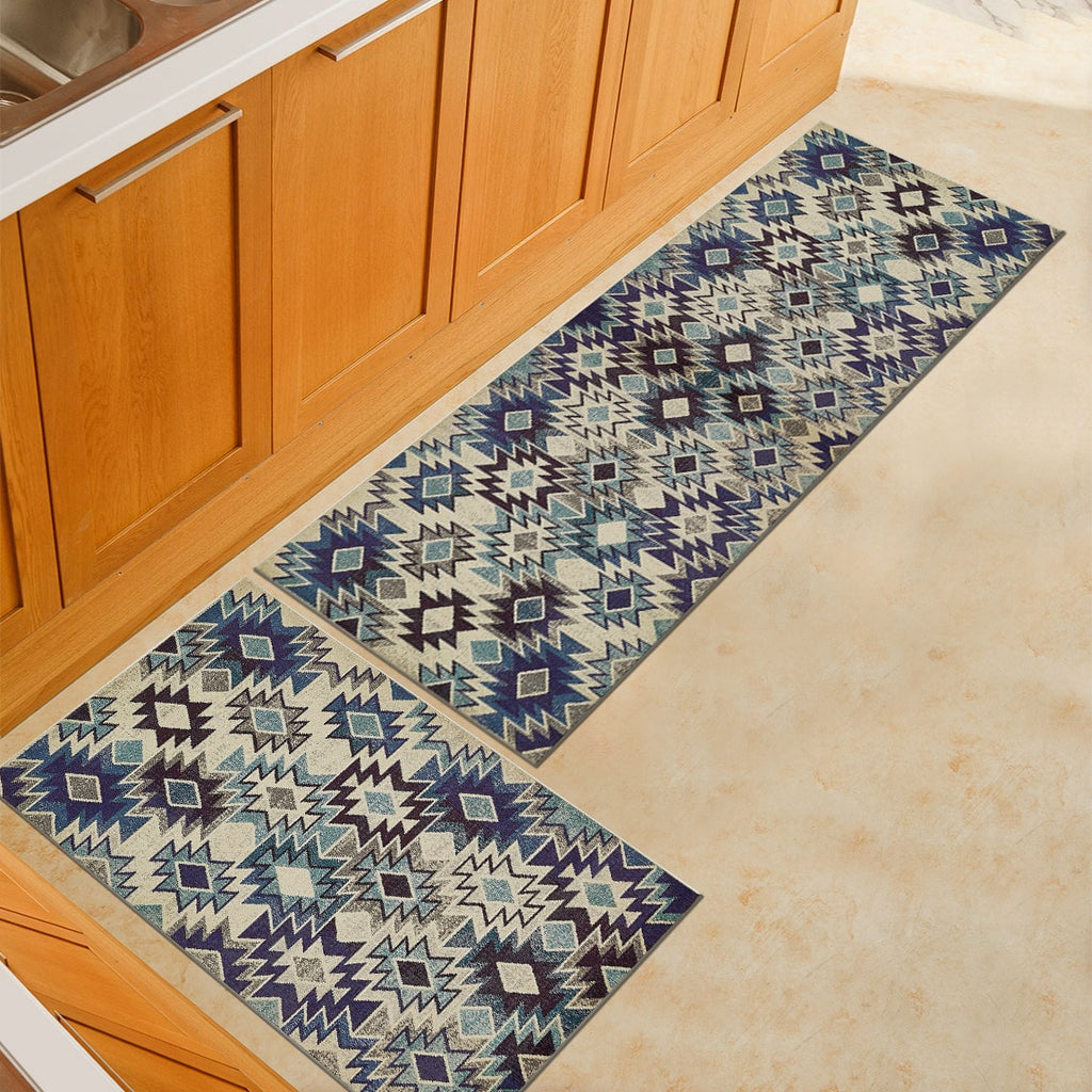 Blue / Beige Aztec Pattern Door Mat Floor Runner