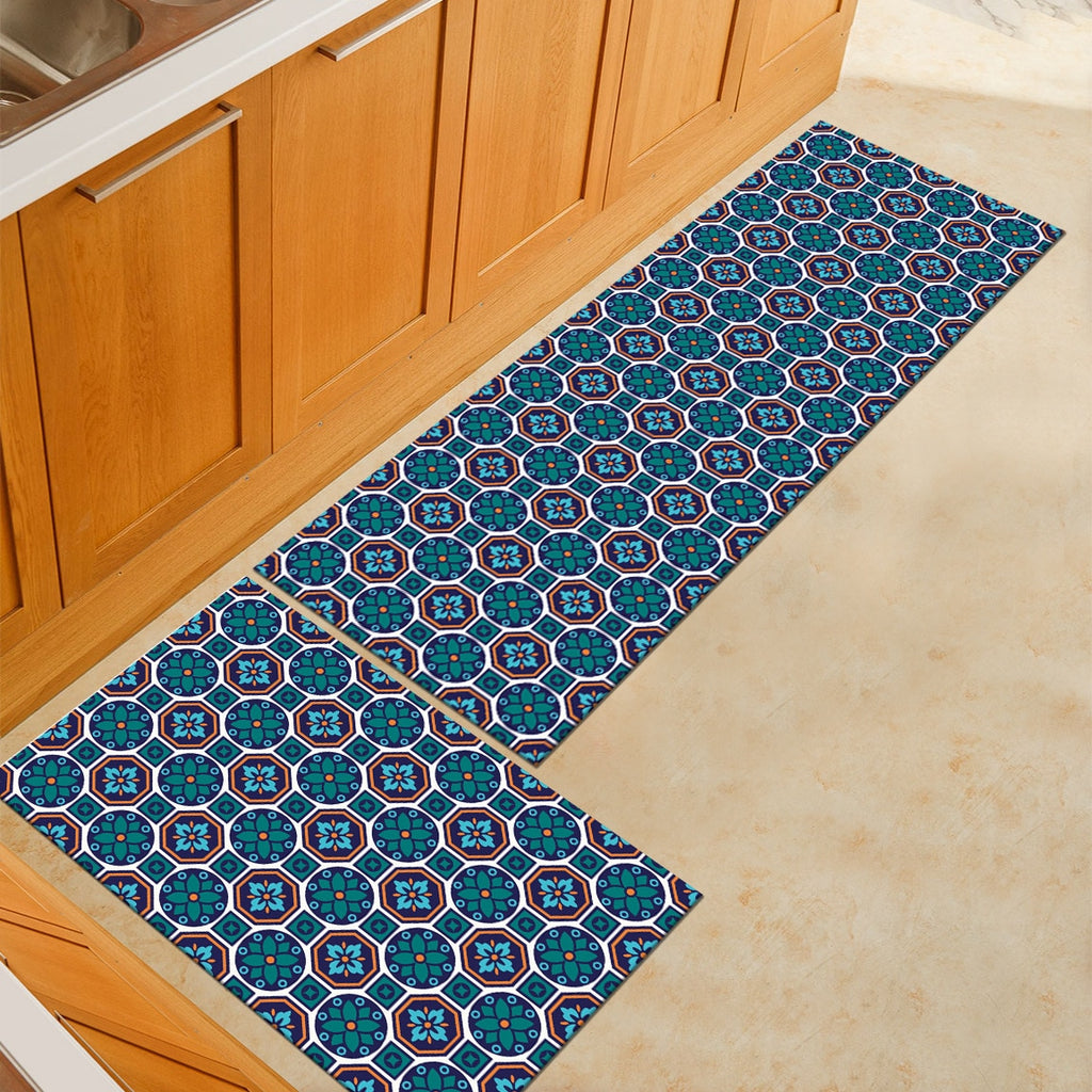 Teal Blue Floral Mosaic Pattern Door Mat / Floor Runner