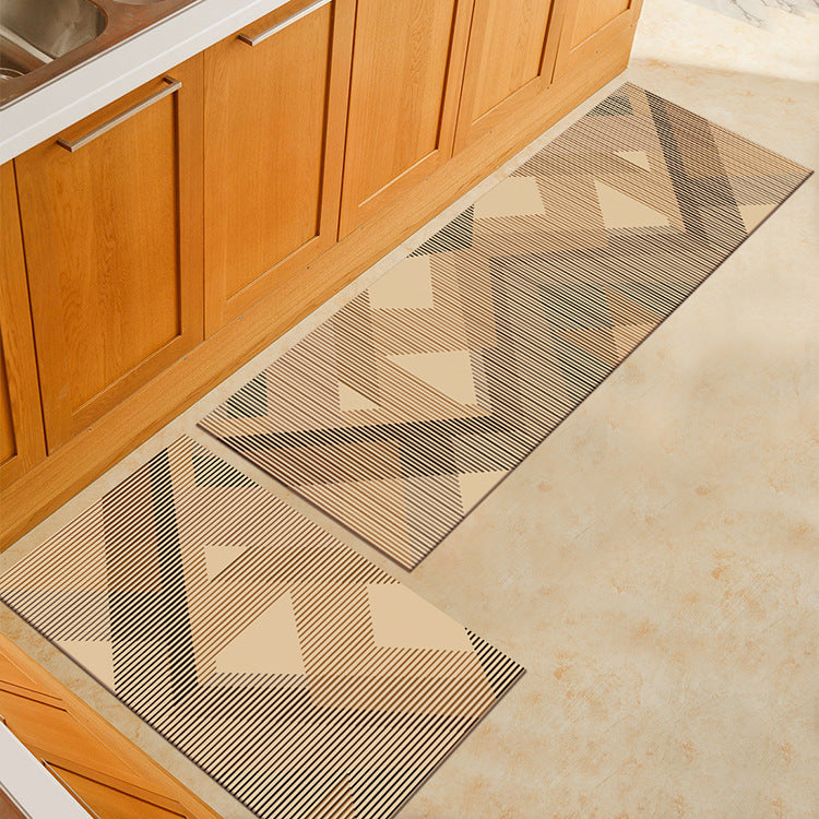 Beige Striped Triangle Print Door Mat / Floor Runner
