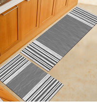 Gray Textured Stripe Pattern Door Mat / Floor Runner