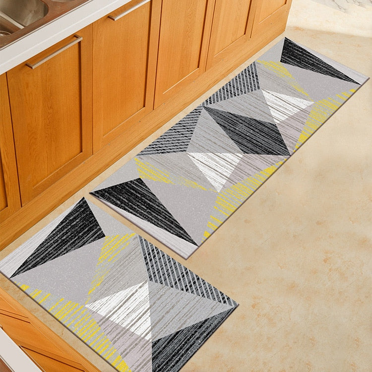 Gray Abstract Triangle Print Door Mat / Floor Runner