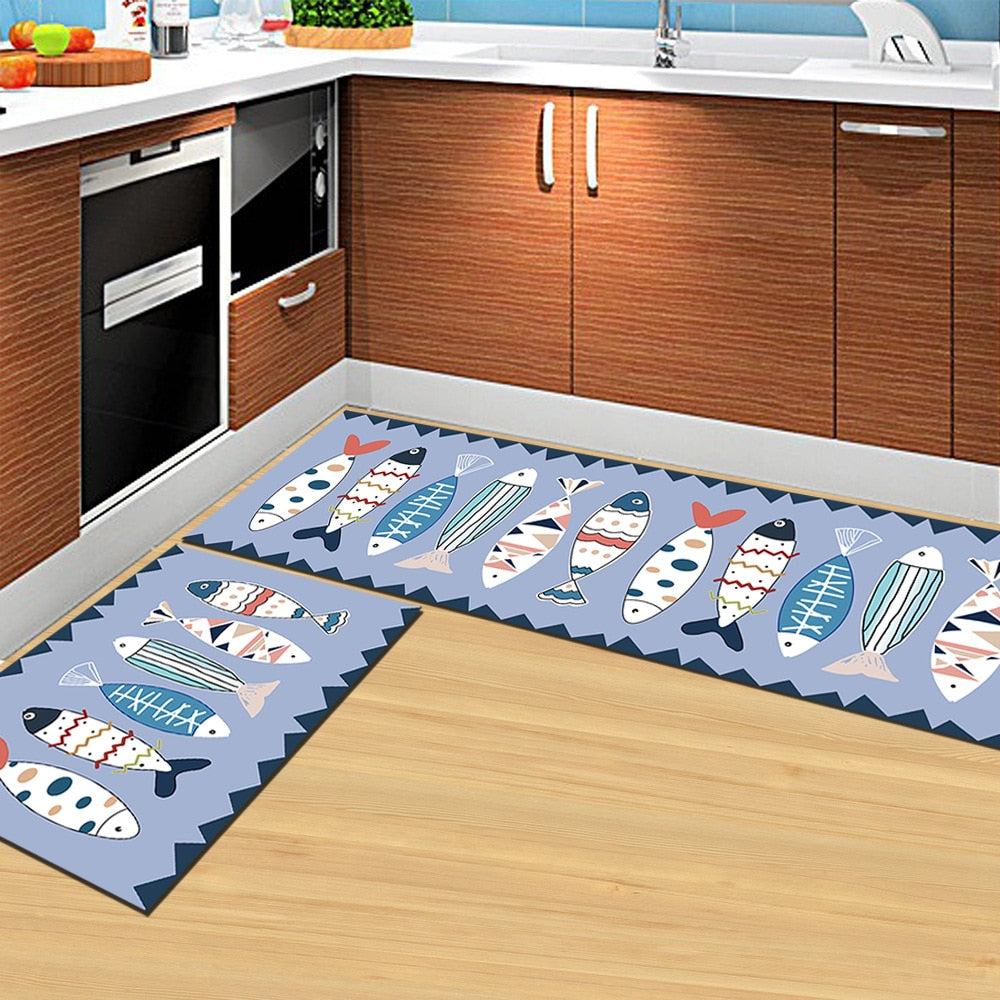 Blue Cartoon Fish Print Door Mat / Floor Runner
