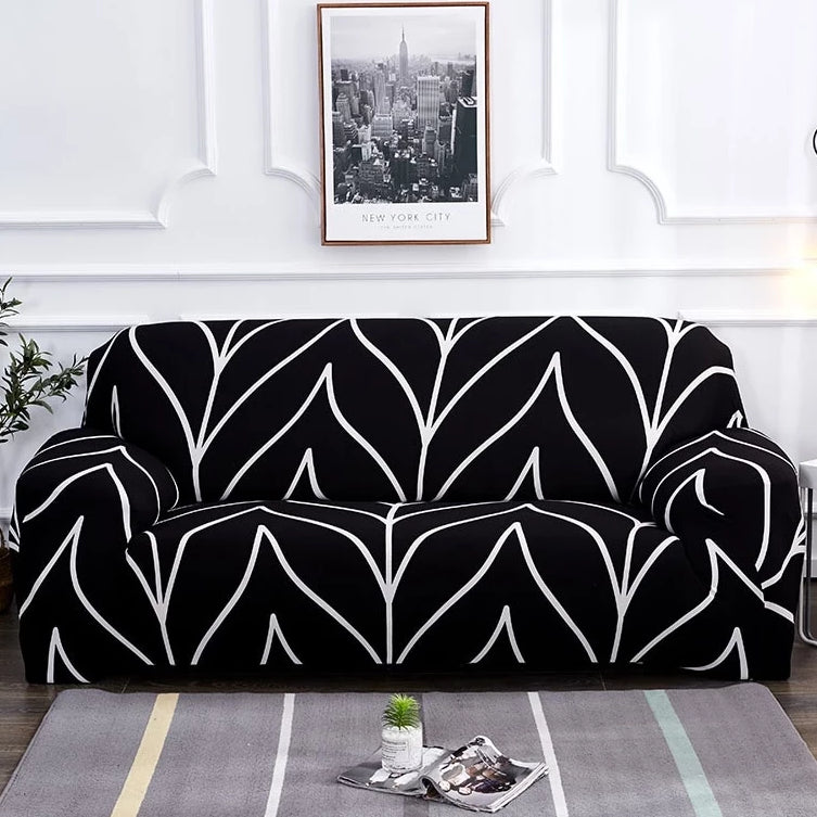 Black & White Abstract Stripe Pattern Sofa Couch Cover