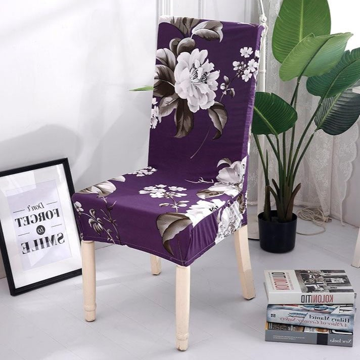 Purple / White Floral Pattern Dining Chair Cover