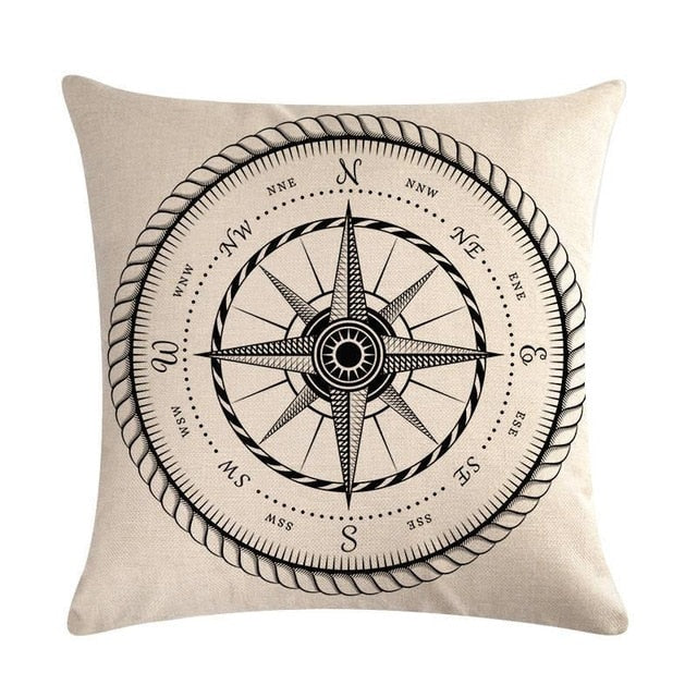 "18"" Vintage Nautical Compass Print Throw Pillow Cover"