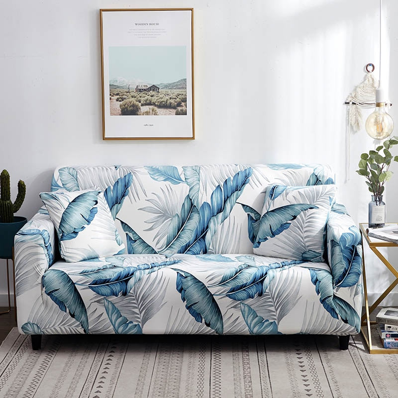 Blue / White Palm Leaf Pattern Sofa Couch Cover