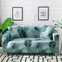 Mint Green Palm Leaf Pattern Sofa Couch Cover