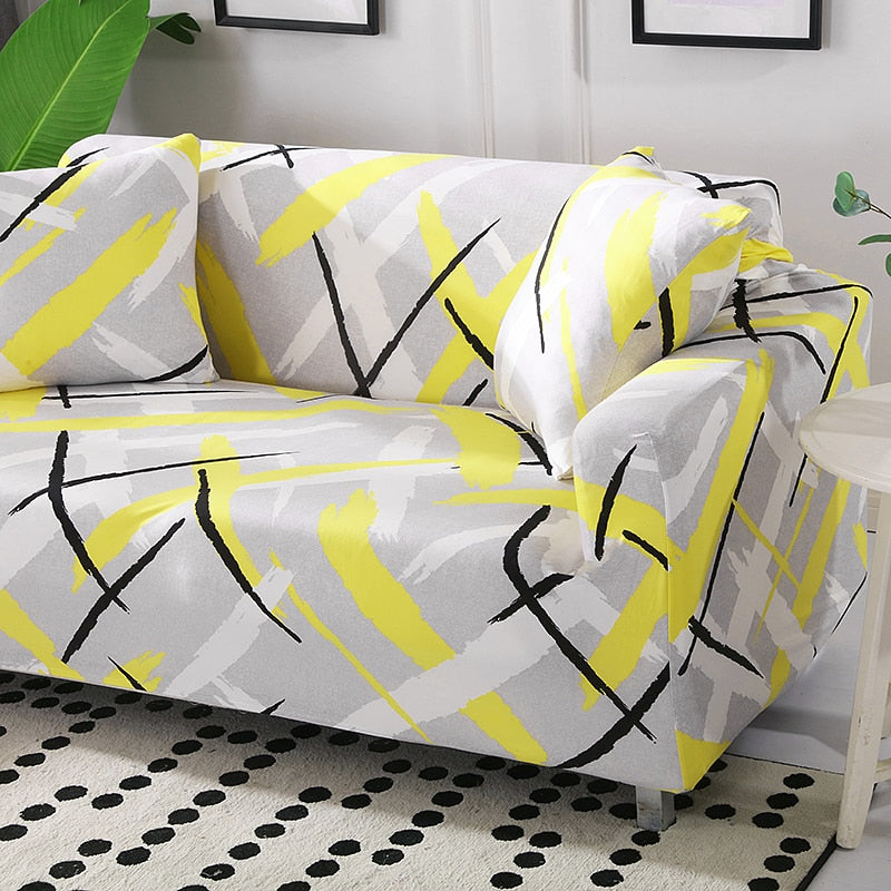 Abstract Yellow Cross Pattern Sofa Couch Cover