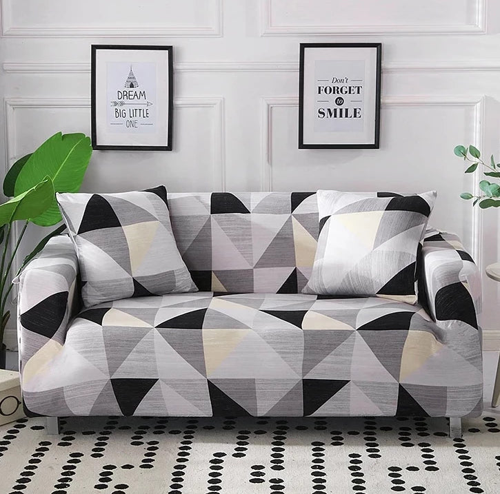 Gray / Black Geometric Triangle Pattern Sofa Couch Cover