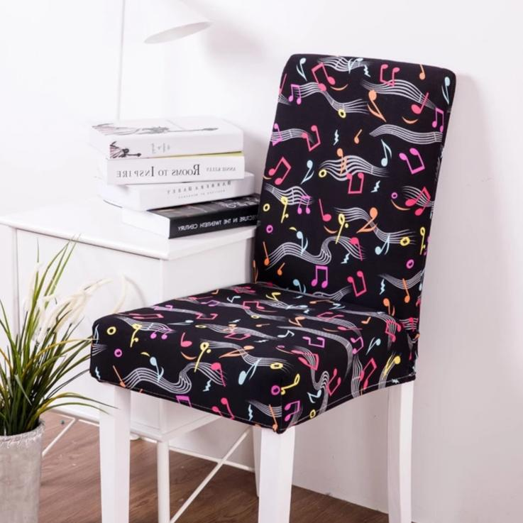 Black Colorful Music Note Pattern Dining Chair Cover