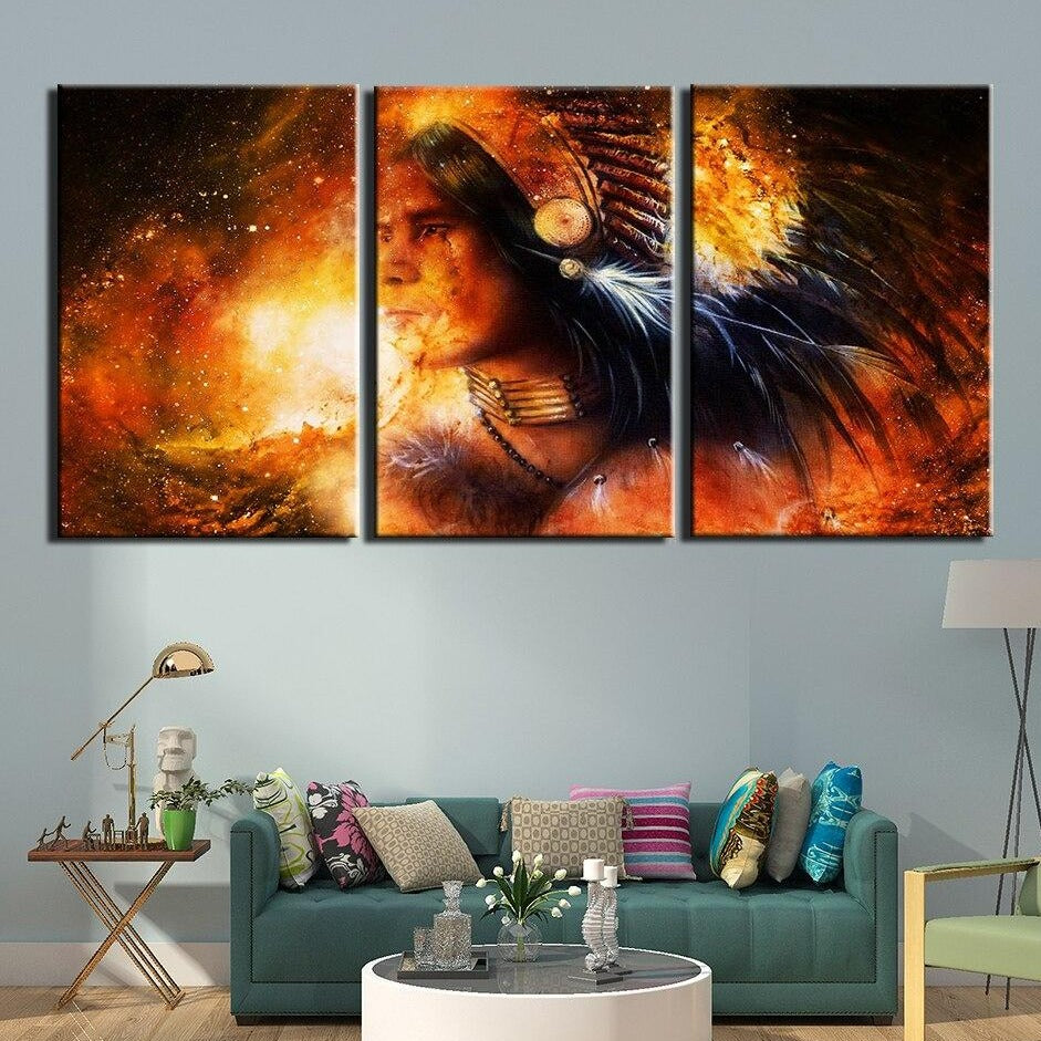 3-Piece Orange Cosmic American Indian Canvas Wall Art