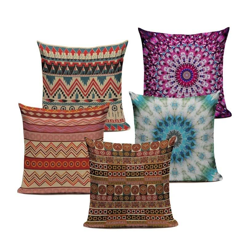 "18"" Multi-Color Ethnic Bohemian Pattern Throw Pillow Cover"
