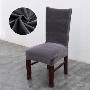 Solid-Color Plush Velvet Elastic Dining Chair Cover