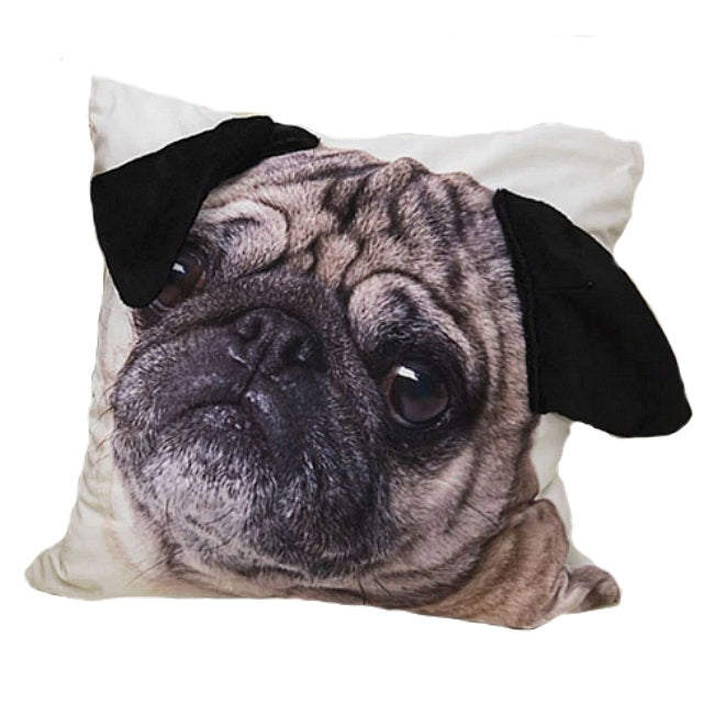 "18"" Adorable Pug Puppy Face Throw Pillow Cover w/ Ears"