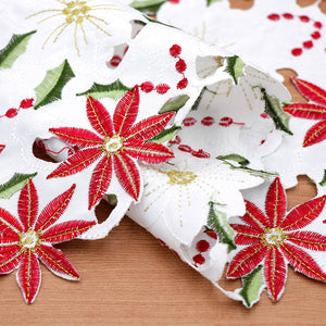 Embroidered Red Poinsettia Floral Christmas Table Runner